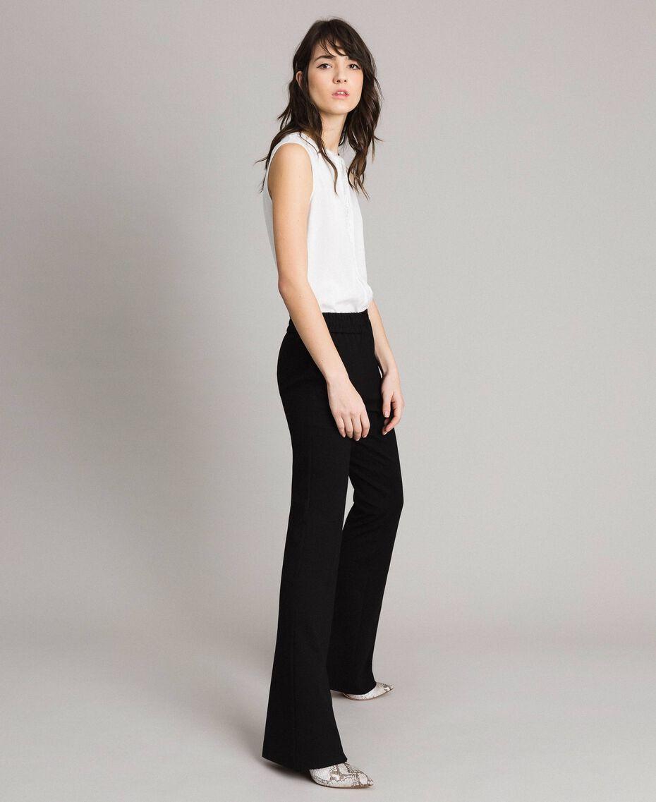 Pantalon évasé au point de Milan Noir Femme 191TP2423-02