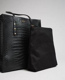 Crocodile print faux leather shopping bag Black Crocodile Print Woman 192TA7276-04