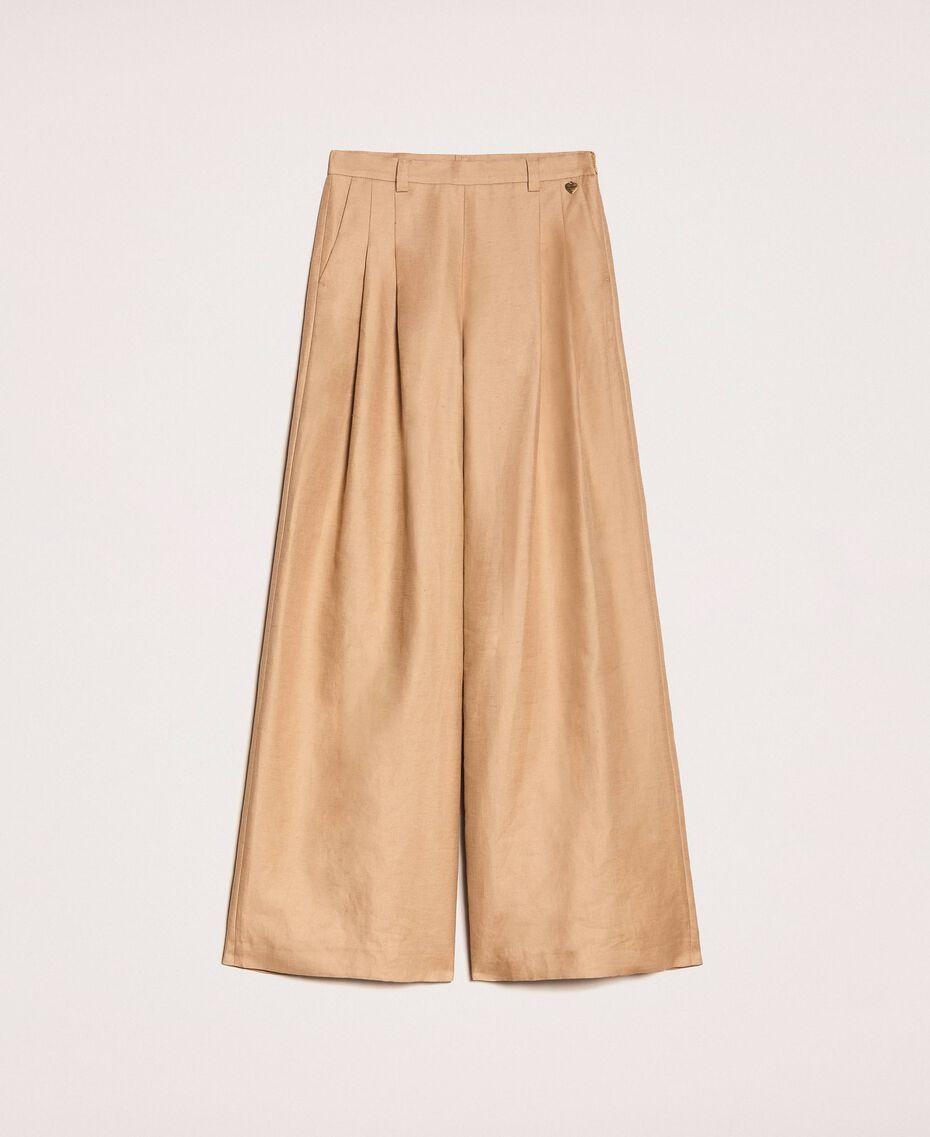 Weite Hose aus Leinenmischung Dünenbeige Frau 201TP2257-0S