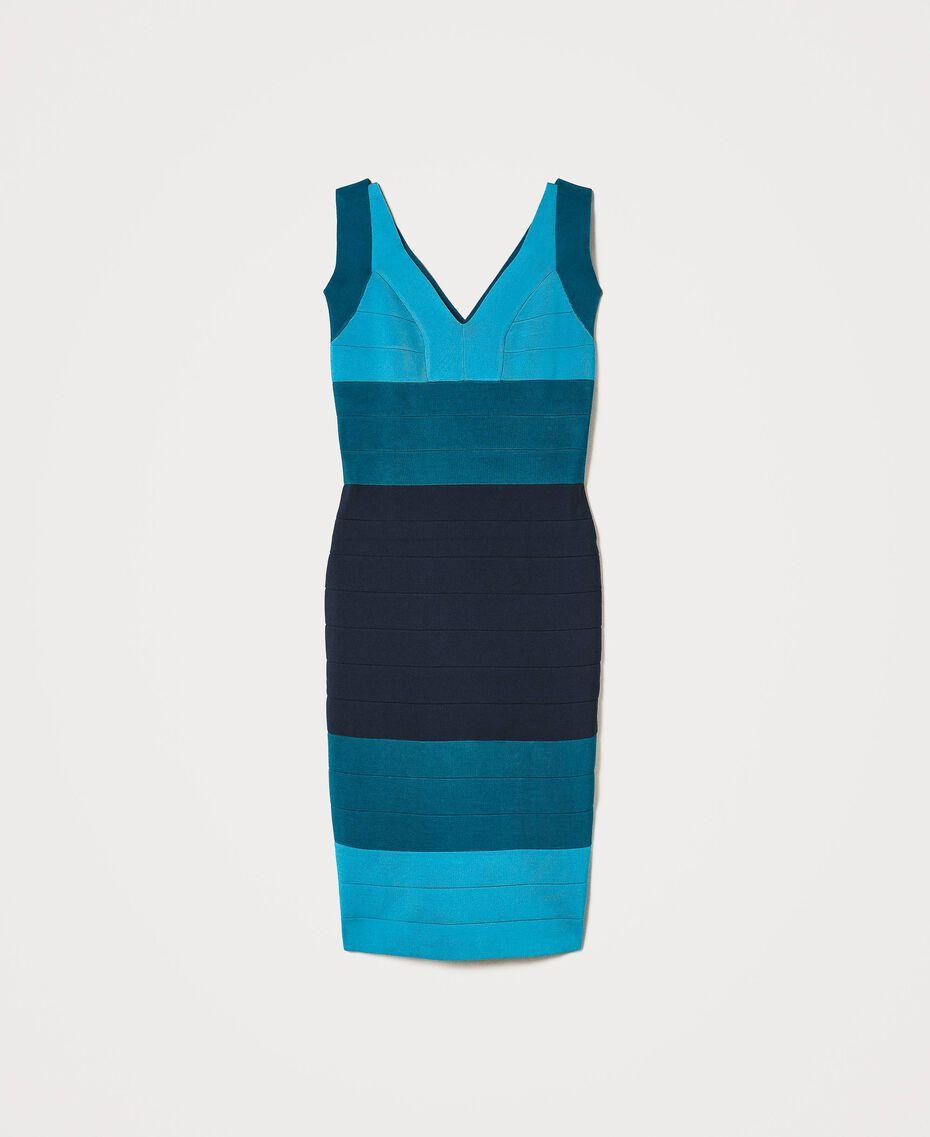 """Schlauchkleid aus Gestrick im Color-Block-Look """"Multicolor""""-Blau Frau 202TP3230-0S"""