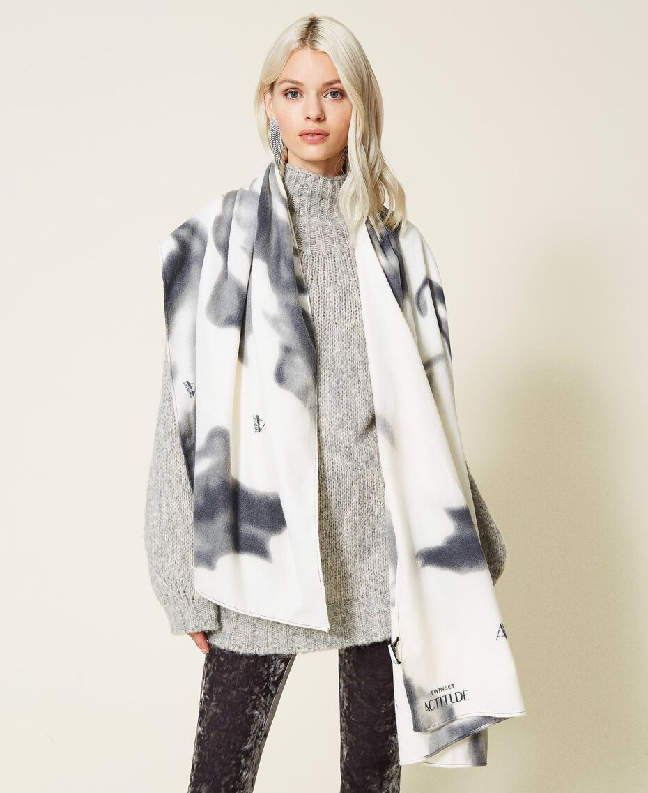 Schal aus Tuch mit Print Print rauchiges Perlmutt-Weiß Frau 212AO534B-0S