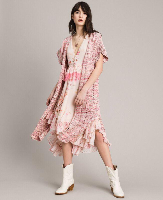 Lange Weste mit Bändern Multicolour Pinkes Muster Frau 191TP3282-01
