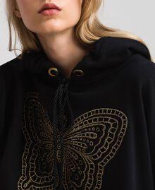 Felpa con ricamo a farfalla Nero Donna 192TT2133-05