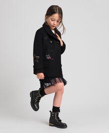 Cappotto in panno con ricami Nero Bambina 192GJ2102-02