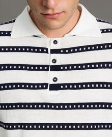 "Crêpe cotton striped polo shirt Two-tone Opaque White / ""Blackout"" Blue Man 191UT3030-04"