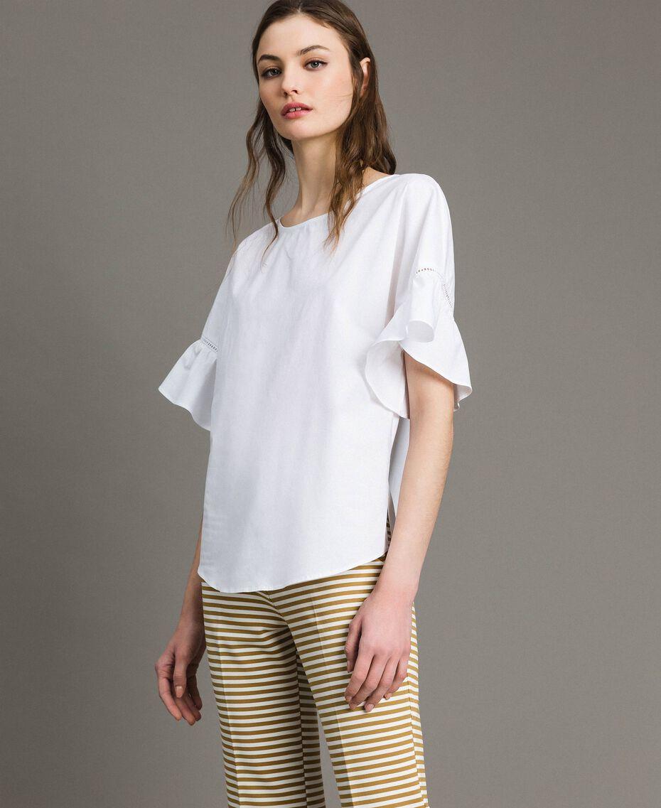 Poplin flounce blouse White Woman 191TT224D-02