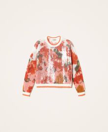 Mohair and wool jumper with sequins Ivory / Coral Dream Large Flower Print Woman 202TT3281-0S