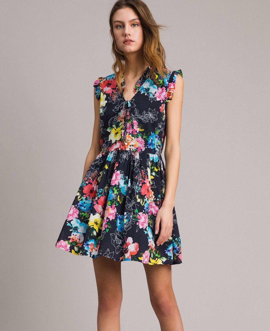 Kleid mit Blumenprint und geraffter Taille All Over Black Multicolour Flowers Motiv Frau 191MT2295-02