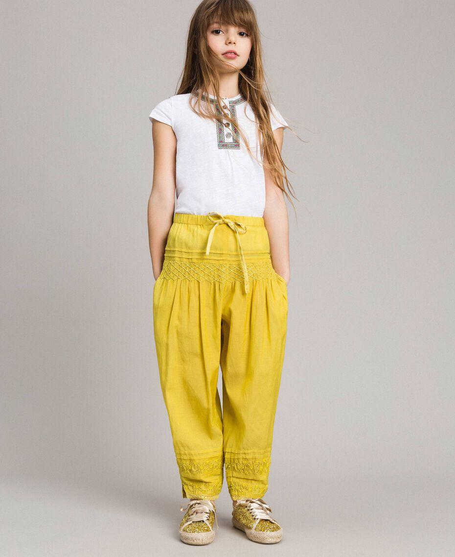 """Pantalon en voile de coton avec broderie Jaune """"Bambou"""" Enfant 191GJ2351-0S"""
