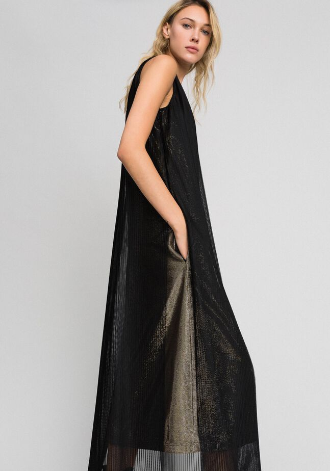 Metal effect long dress with tulle
