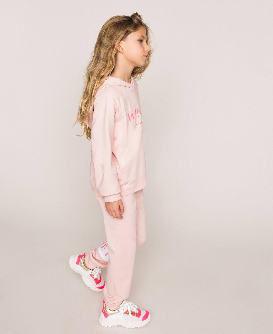 Толстовка с капюшоном и логотипом Принт Twinset Milano / Розовый Светлый Pебенок 201GJ2373-02