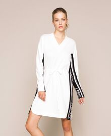 Dress with jacquard logo bands Ivory Woman 201TP2073-02