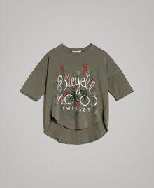 Maxi-T-Shirt mit Aufdruck und Strass Tundra-Grün Kind 191GJ2771-01