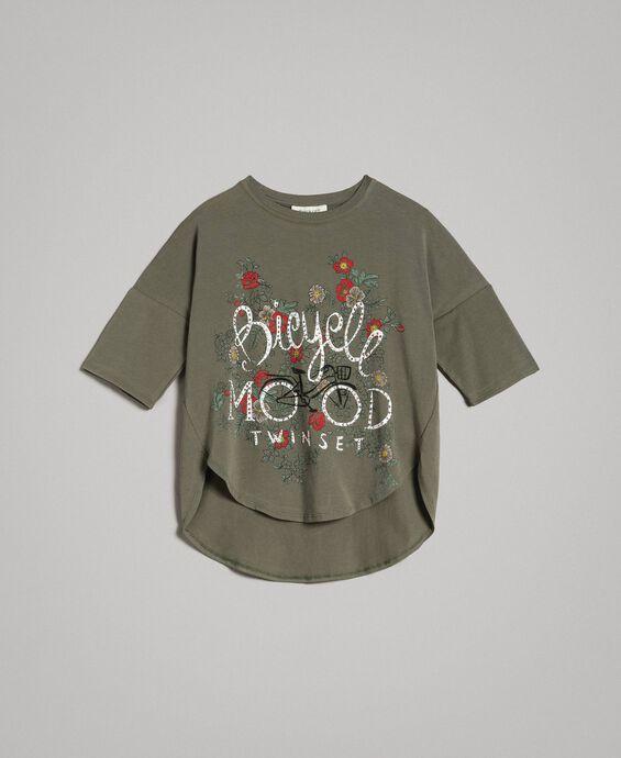 Maxi T-shirt con stampa e strass