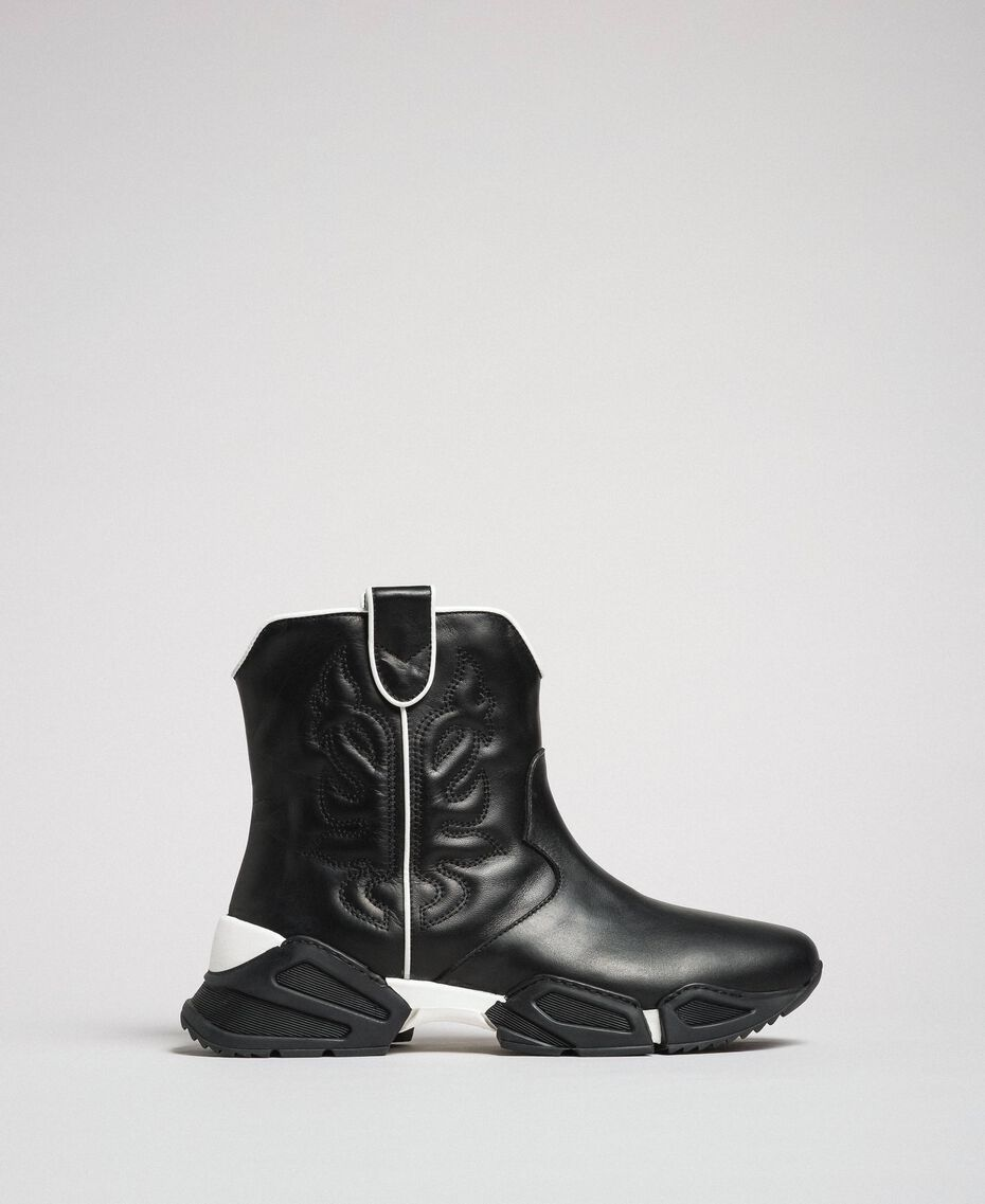 Hohe Cowboy-Sneakers mit Stickereien Schwarz Frau 192TCT114-02