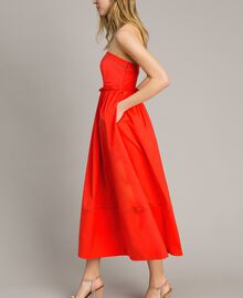 Poplin long bustier dress Granadine Red Woman 191TT2247-03