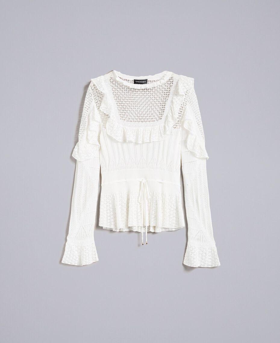 Pullover mit Mustermix in Spitzenoptik Weiß Schnee Frau PA83C6-0S