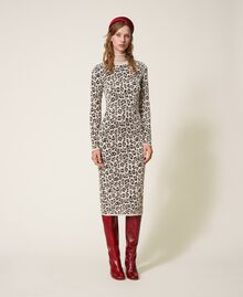 Animal print jacquard sheath dress Animal Jacquard Woman 202TT3160-01