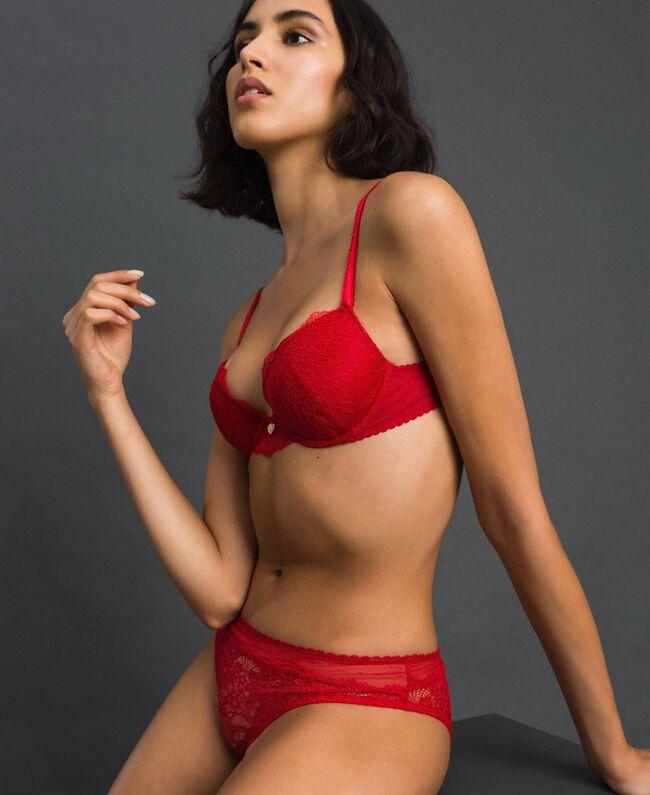 Бюстгальтер 'пуш-ап' с кружевом и тюлем Пламенный Красный женщина 192LL6C44-01