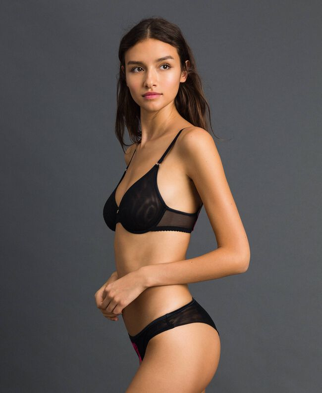 Soutien-gorge à armatures en tulle Noir Femme 192LI6655-01