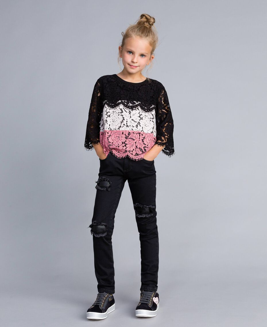 "Multi-coloured lace blouse Multicolour ""Blush"" Pink / Black / Roses Child GA82QA-0T"