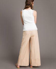 "Pantaloni a palazzo in popeline Beige ""Marzapane"" Donna 191TT223C-03"