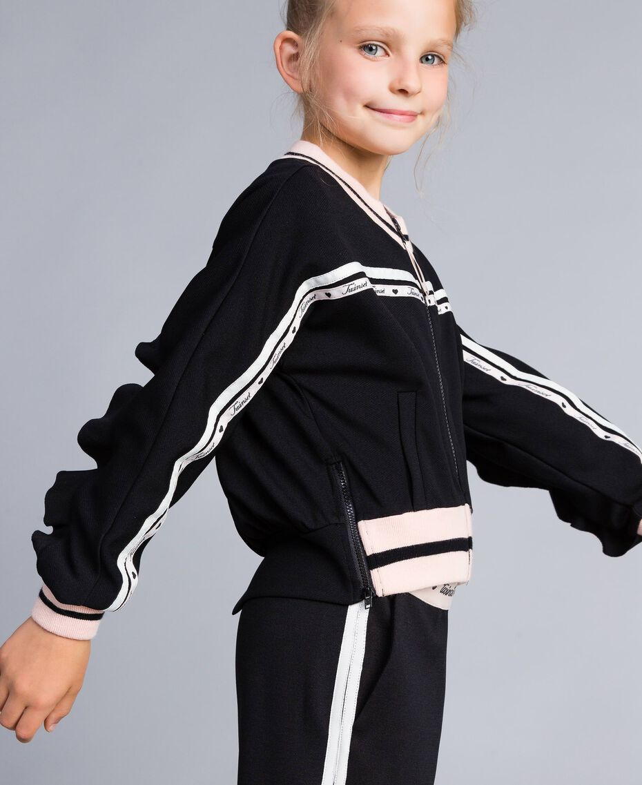 "Technical fabric sweatshirt with logo Bicolour Black / ""Blush"" Pink Child GA82PN-02"