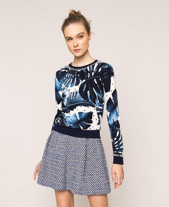 Pullover mit Print und Stickerei