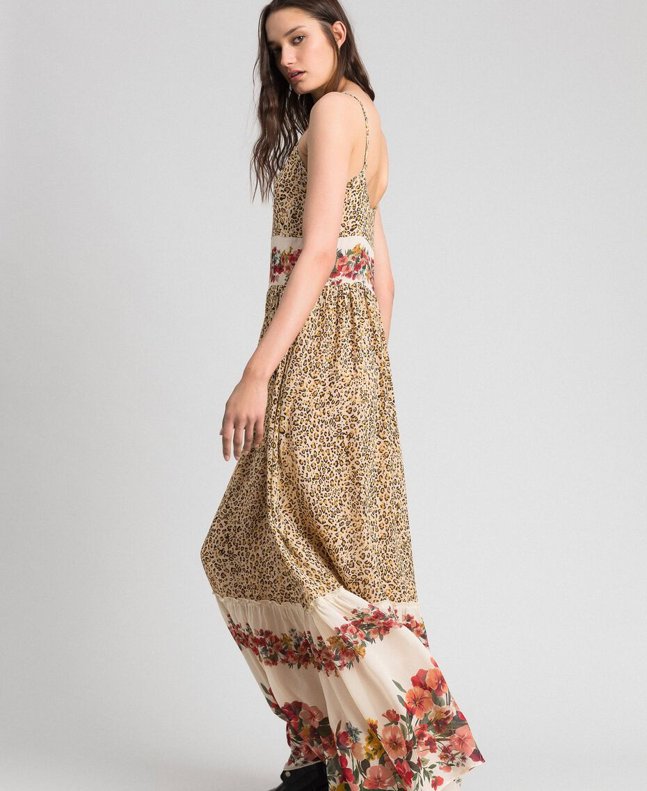 Long dress with animal and floral print Leopard Print Woman 192TP2743-02