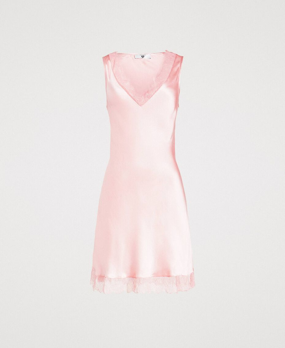 "Slip dress in satin and lace ""Pink Bouquet"" Woman 191LL2DBB-0S"
