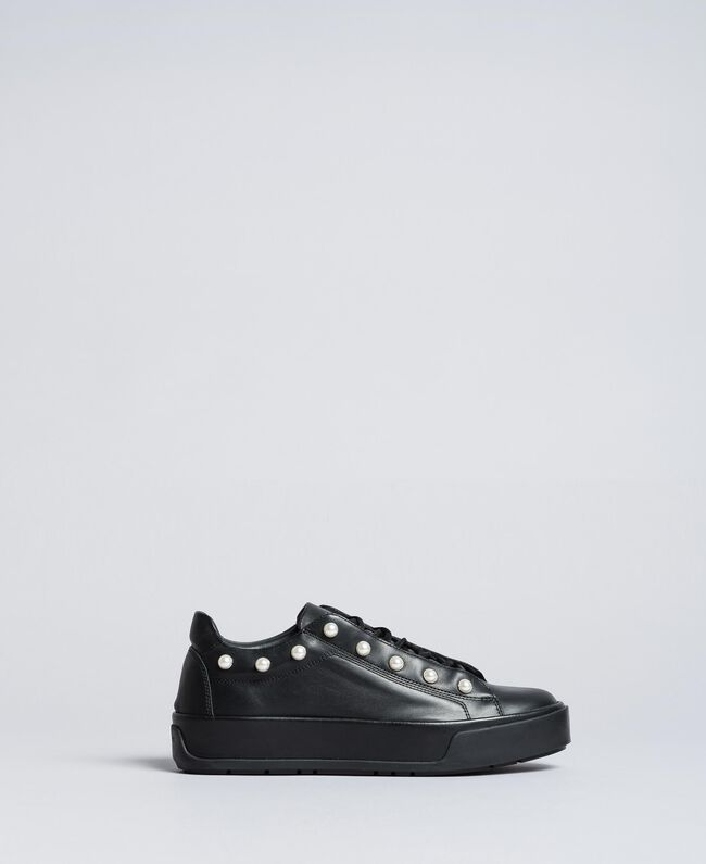 Leather sneakers with pearls Black Woman CA8PBU-01