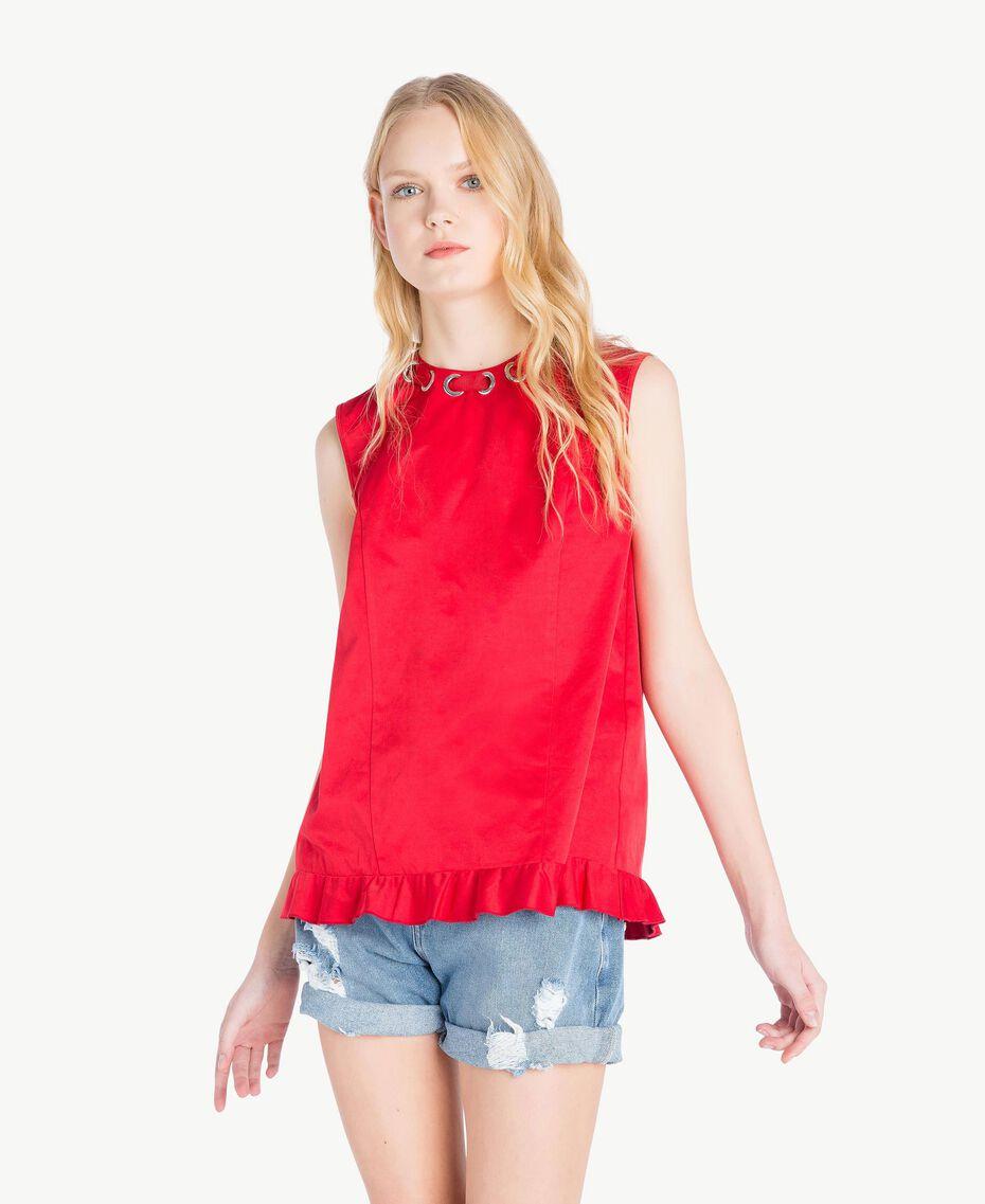 Ruched top Vermilion Red Woman JS82QP-01