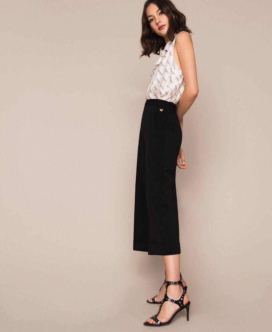 Wide georgette trousers Black Woman 201TP202C-02