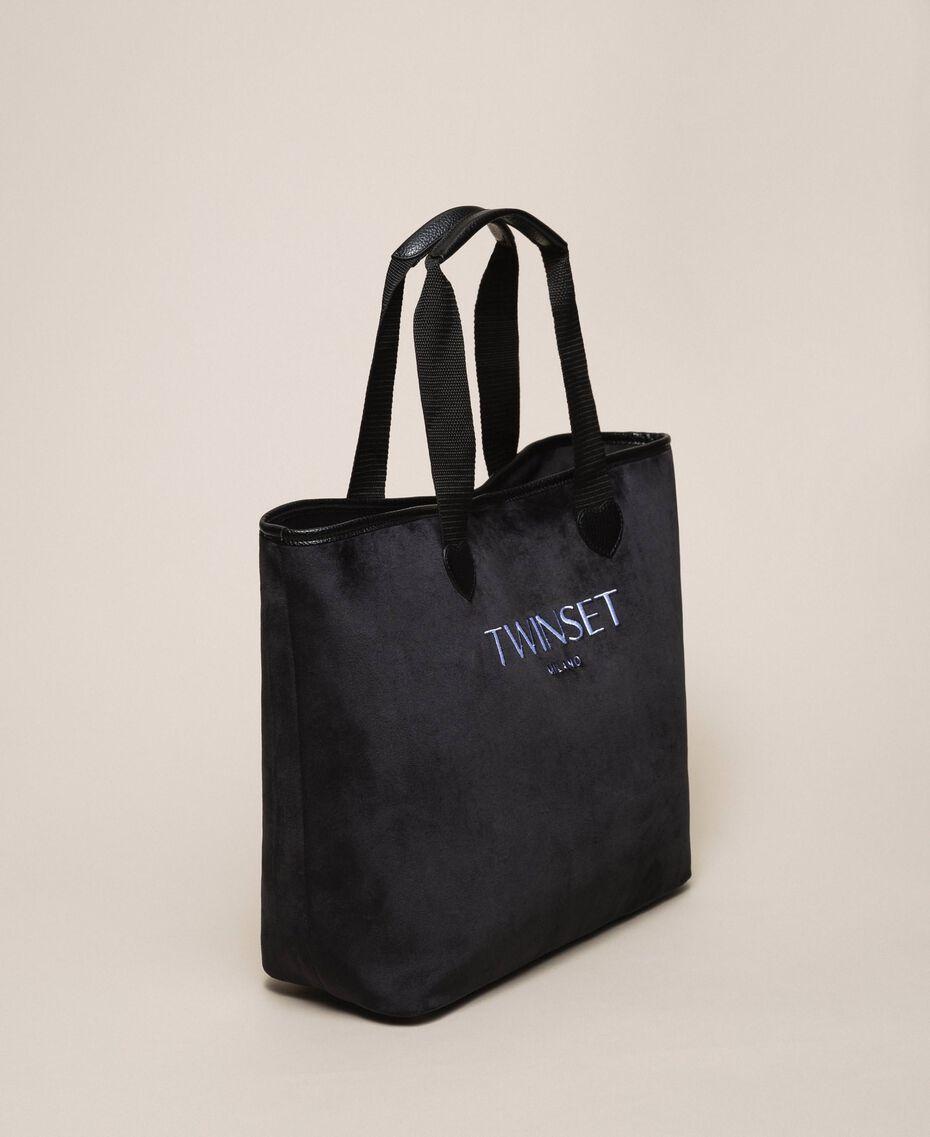 Бархатная сумка-шоппер с пошетом Черный женщина 999TA7010-03