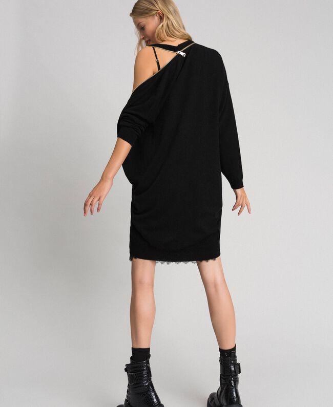 Cashmere blend maxi cardigan with slip Black Woman 192TT3092-04