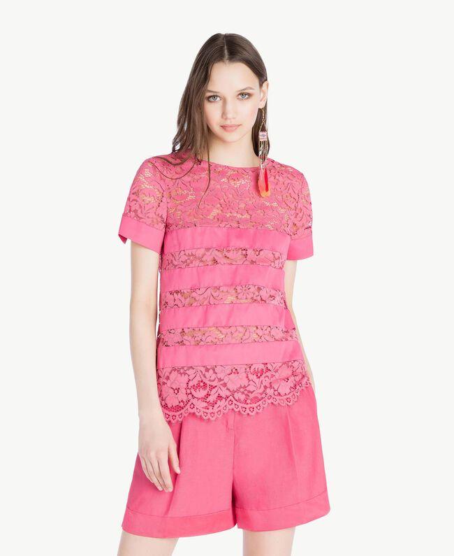 T-shirt dentelle Pink Provocateur Femme TS828Q-01