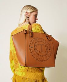 Shopper with openwork logo Leather Brown Woman 212TB7260-0S