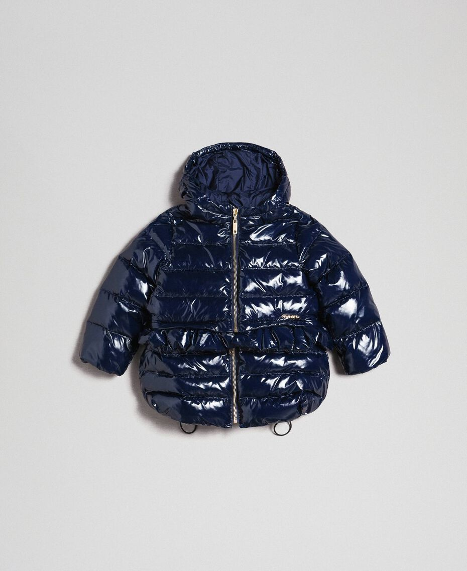 Real down puffer jacket with frill Blue Night Child 192GB2580-01