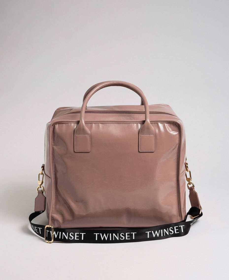 Faux patent leather weekend bag Dusty Pink Woman 192TA7172-02