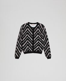Coreana in maglia stampata Stampa Chevron Nero / Bianco Neve Donna 192TP3368-0S