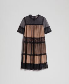 Tulle, Valenciennes lace and plumetis dress Two-tone Black / Nude Woman 192TP2331-0S