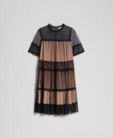 Robe en tulle, dentelle de Valenciennes et plumetis Bicolore Noir / Nude Femme 192TP2331-0S