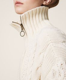 Wool blend biker jacket Parchment White Woman 202TT3191-04