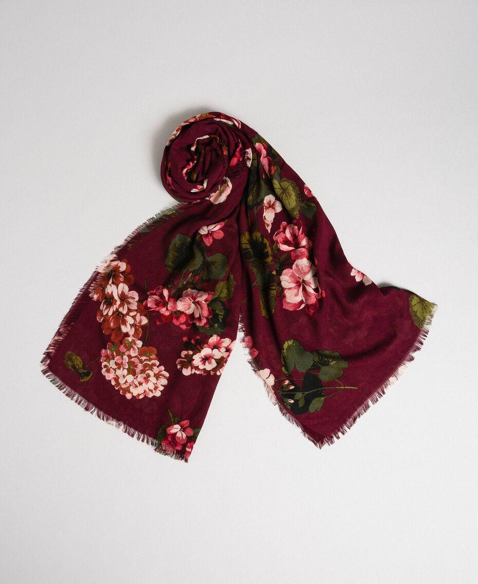 Écharpe avec imprimé floral et logo Imprimé Rouge Betterave Géranium Femme 192TA440G-01