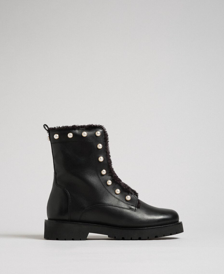 Leather combat boots with pearls Black / White Pearl Woman 192TCP034-02