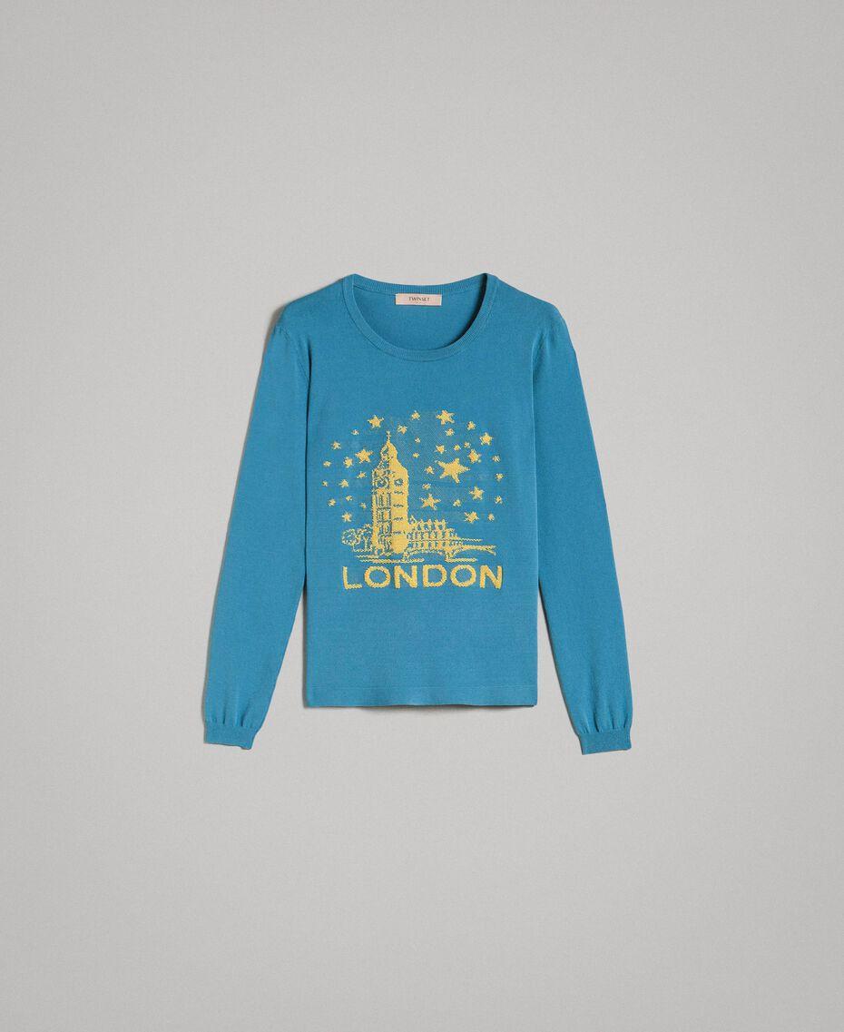 Maglia con intarsio a tema Londra Mykonos Blue Chiaro Donna 191TP3380-0S