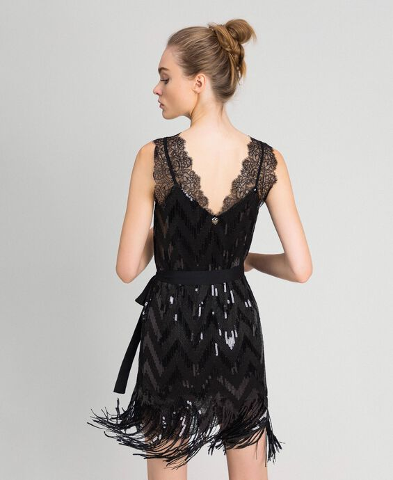 Full sequin dress with fringes
