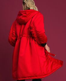 Technical satin padded parka coat Poppy Red Woman 192MP2082-03