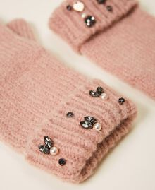 """Knit gloves with pearls and bezels """"Intense Nude"""" Pink Woman 202TO5112-02"""