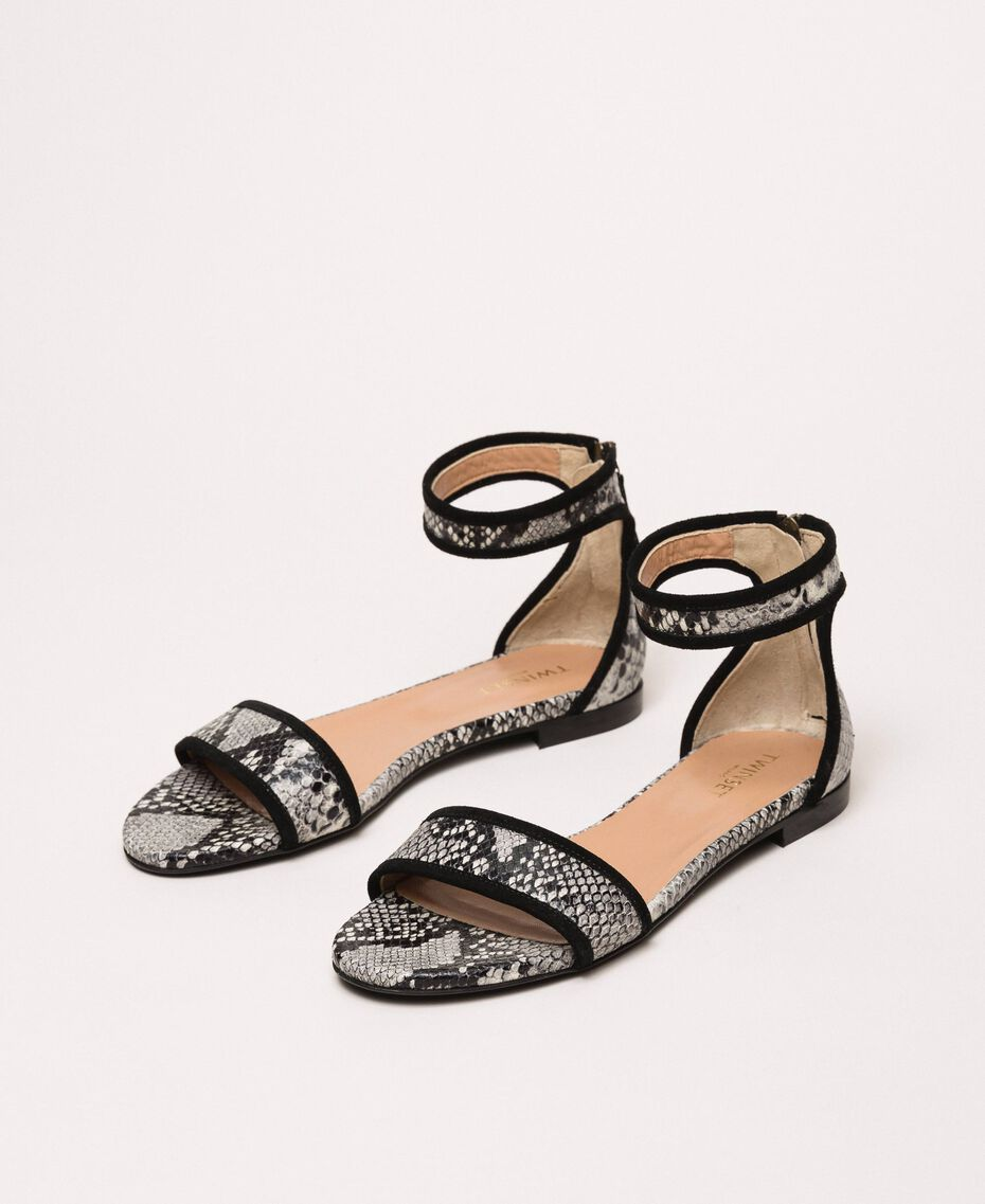 Flat leather sandals with python print Two-tone Pale Rock Python Print / Black Woman 201TCP020-02